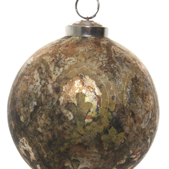 glass ball rustic antique lusterd gold cutting 10 cm
