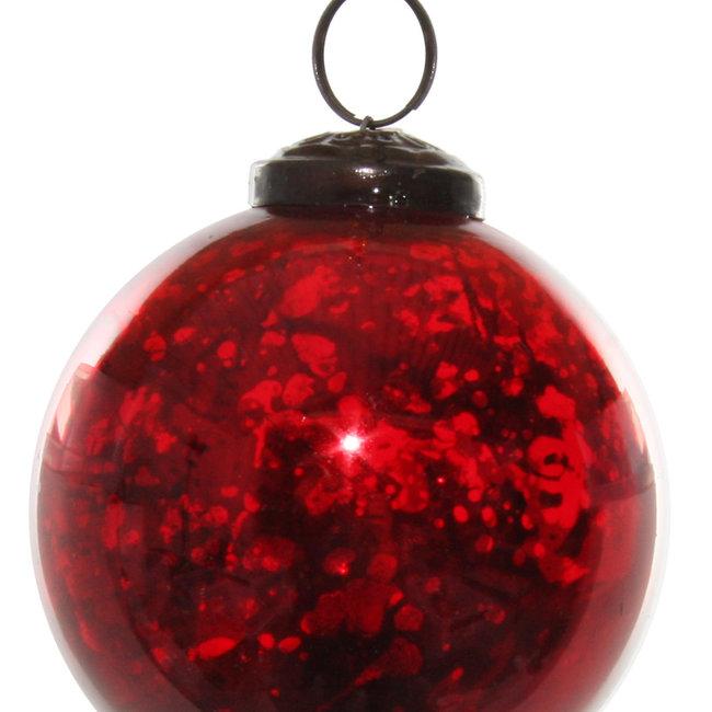 glass ball shiny antique red 7 cm