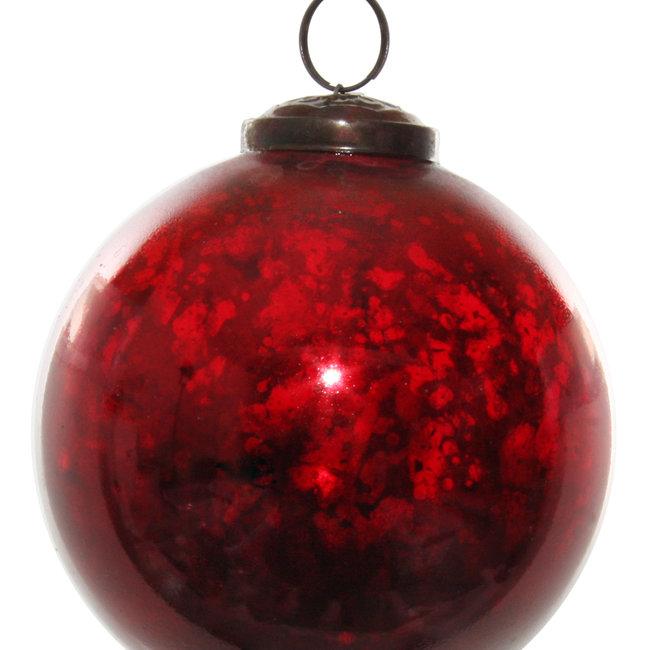 shishi glass ball shiny antique red 10 cm