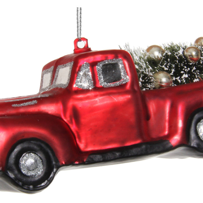 Glass car with tree shiny red 14 cm