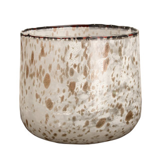 PTMD Tortoise white with gold glass round  tealight l