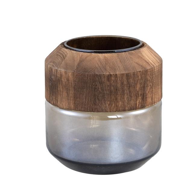 Kiana grey glass vase round with wood l