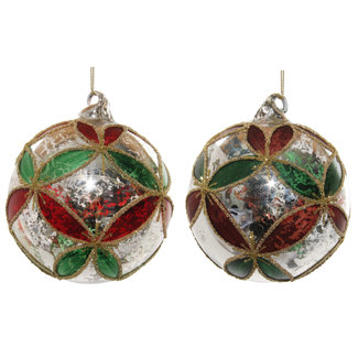 shishi Glass ball antique silver green-red leaves mix 2  10 cm
