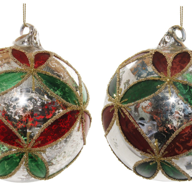 Glass ball antique silver green-red leaves mix 2  10 cm