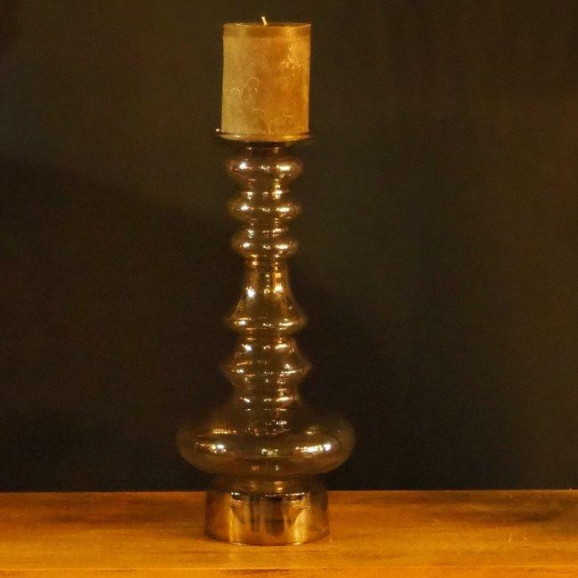 kandelaar mondgeblazen glas amber kleur H41