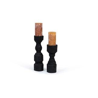Dekocandle kandelaar zwart hout  11x38,5 cm large