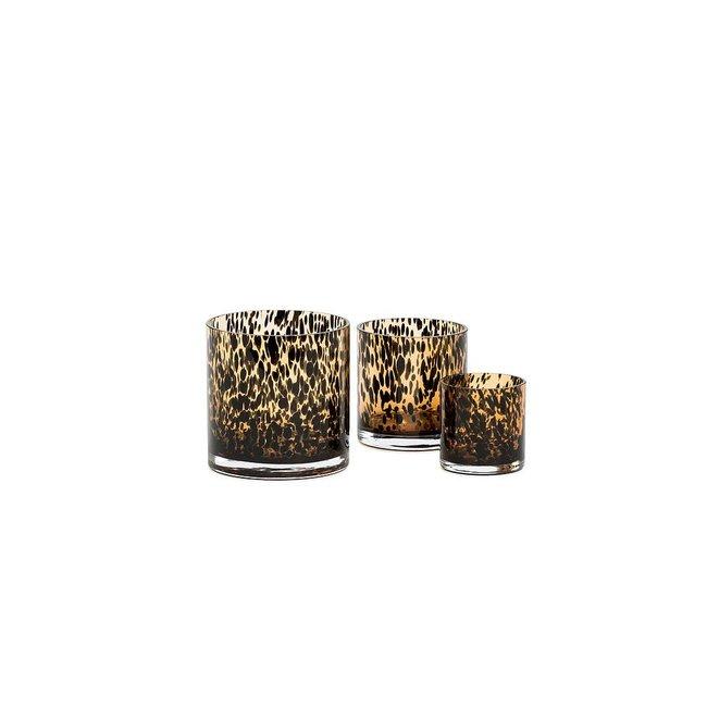 Dekocandle Leopard spotted vase glas amber black M 12x12