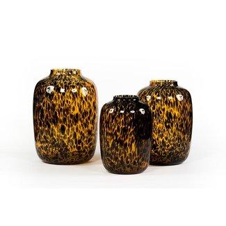 Dekocandle Leopard spotted bulb glass amber black S 25x35