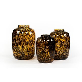 Dekocandle Leopard spotted bulb glass amber black S 25x35