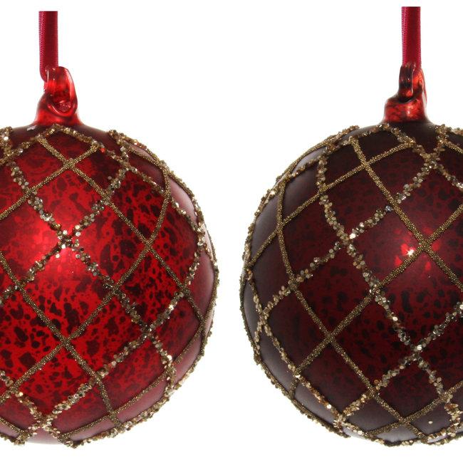 glass ball mat red antique bead glitter m