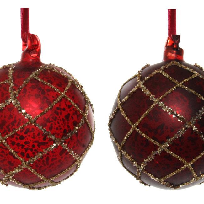 glass ball mat red antique bead glitter  s