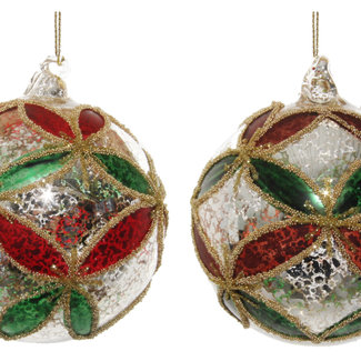 shishi glass ball antique silver green -red leaves  8 cm