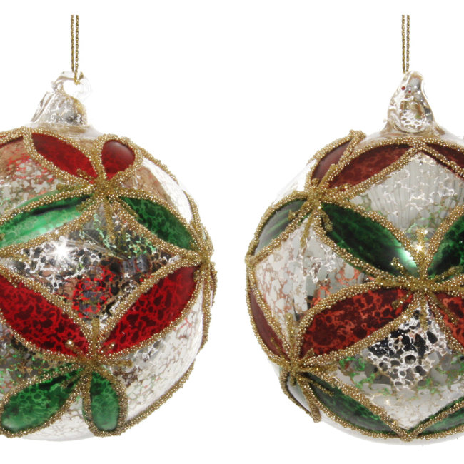 glass ball antique silver green -red leaves  8 cm