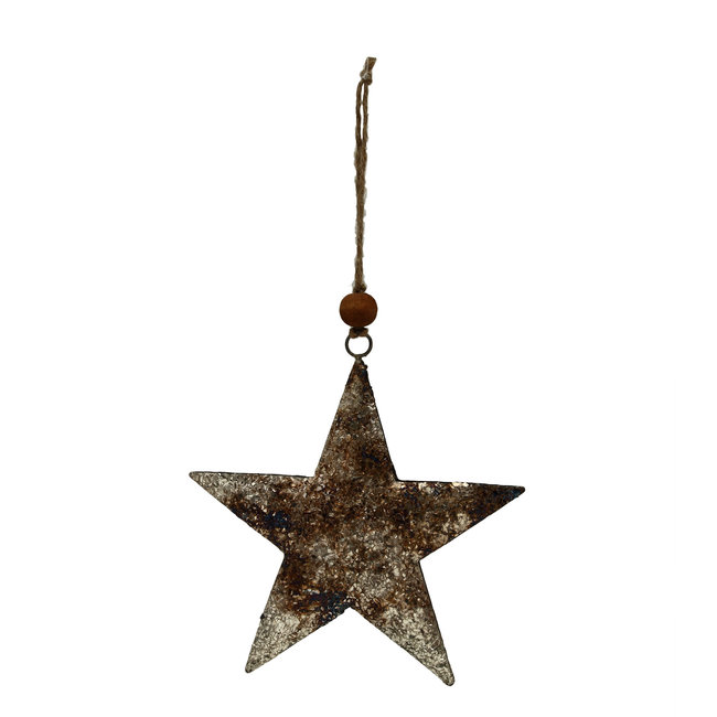 Christmas Xev Antique silver Iron  haging star m