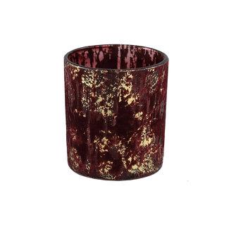 PTMD fluflu burgundy glass tealight glitter round s