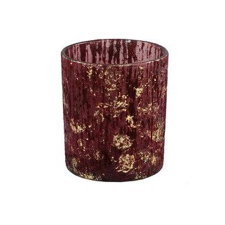 PTMD Fluflu burgundy glass tealight glitter round M