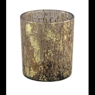 PTMD fluflu brown glass tealight glitter round s