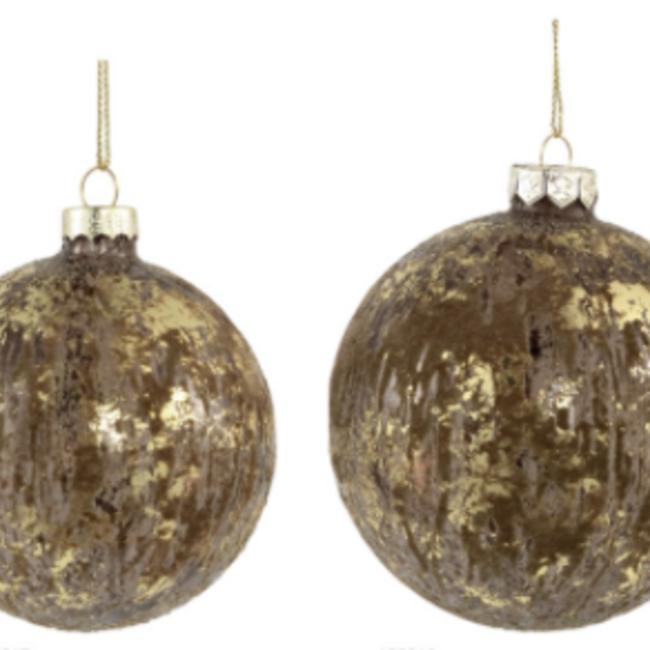 Christmas fluflu brown glass ball glitter s
