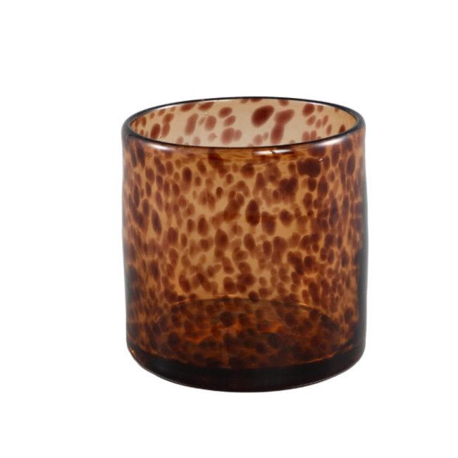 Famke brown glass tealight moti round  l