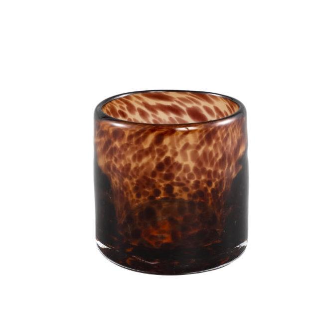 Famke brown glass tealight motif roun s