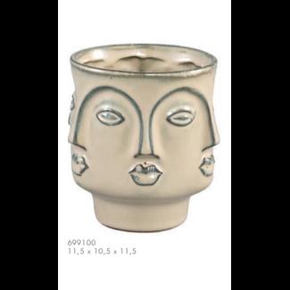 PTMD Stevi white glazed ceramic ot face design s