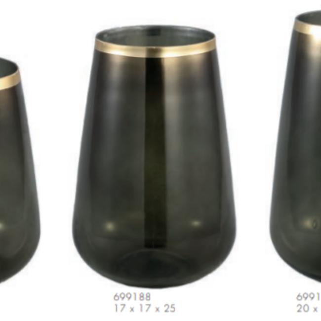 Alara green glass vase taps  border s