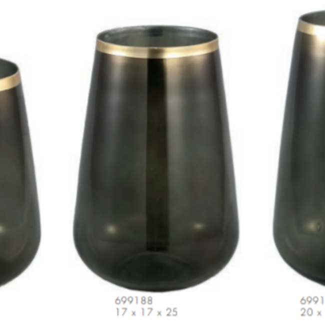 Alara green glass vase taps gold border round m