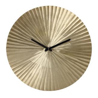 PTMD Walt champagne aluminium clock round ribbed l