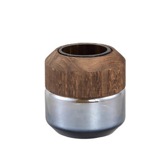 PTMD Kiana grey glass vase round with wood s