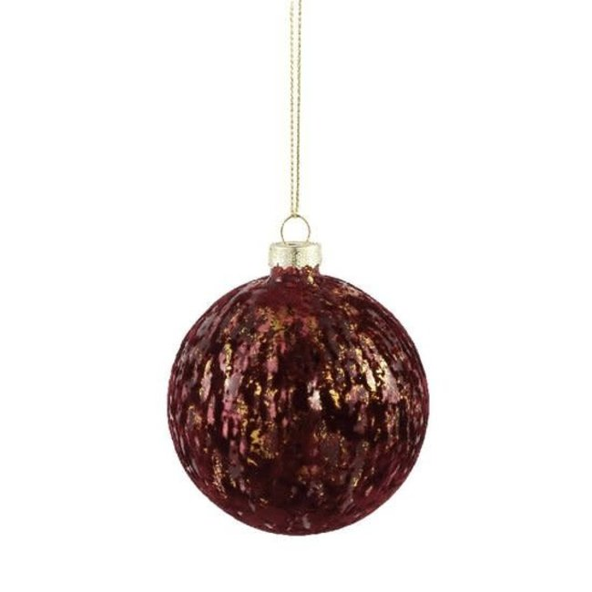Christmas fluflu burgundy glass ball glitter s