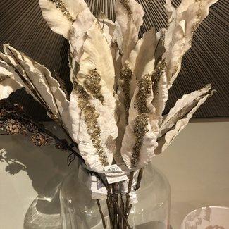 EDG kunsttak magnolia ivoor glitter