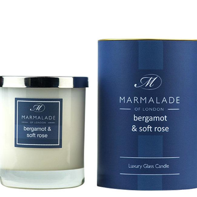 Bergamot & Soft Rose  glas candle gift boxed