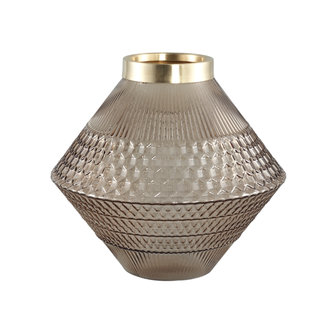 PTMD Siv brown glass vase with pattern round taps S