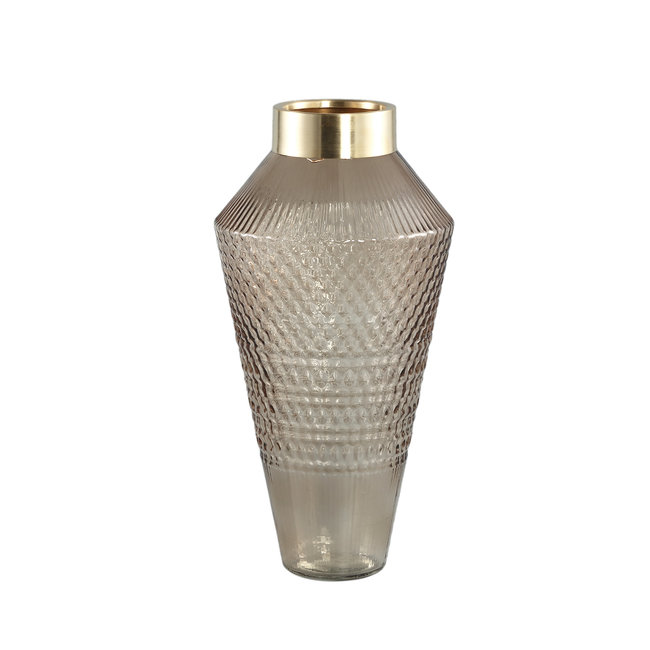 SIV Brown glass vase with pattern round taps l