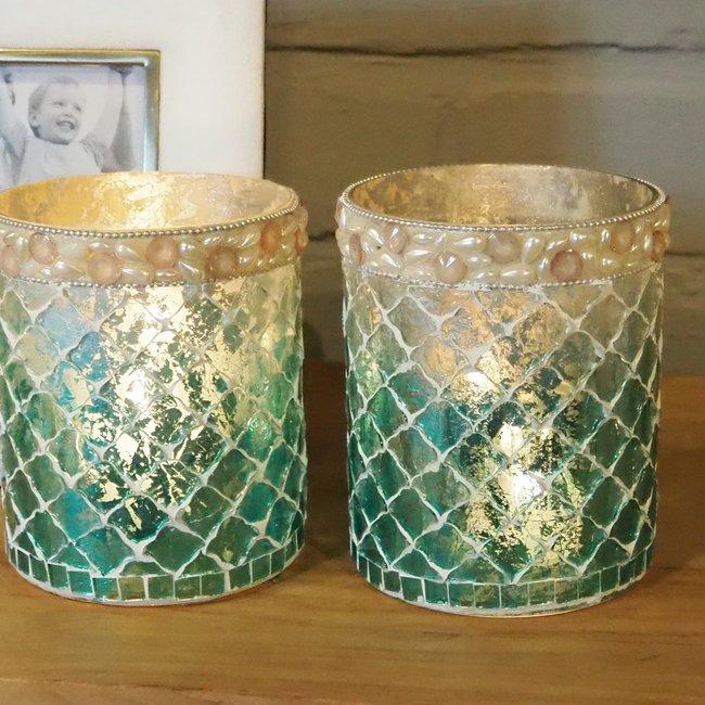 Salz blue glass ombre mosaic stormlight round l