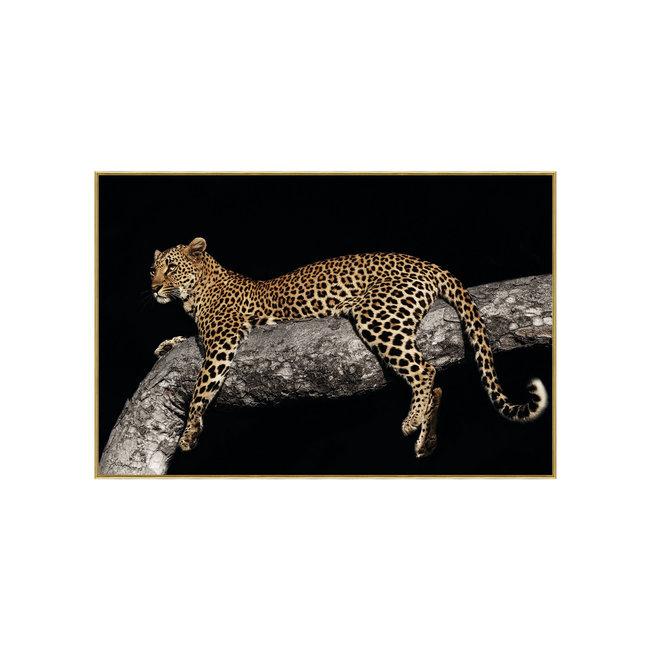 Melani glass art foto luipaard in boom