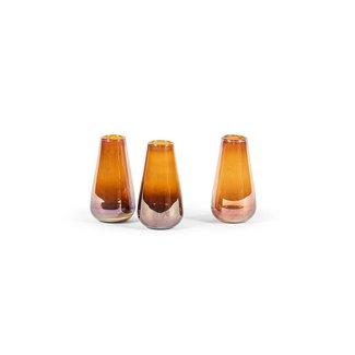 Dekocandle vaasje  7,5 x13,5 cm amber glas