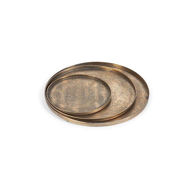 Plateau zand texture antique gold dia 30 cm