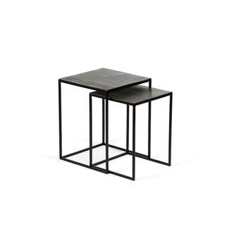 Dekocandle Sidetable set of 2 metal black + aluminium