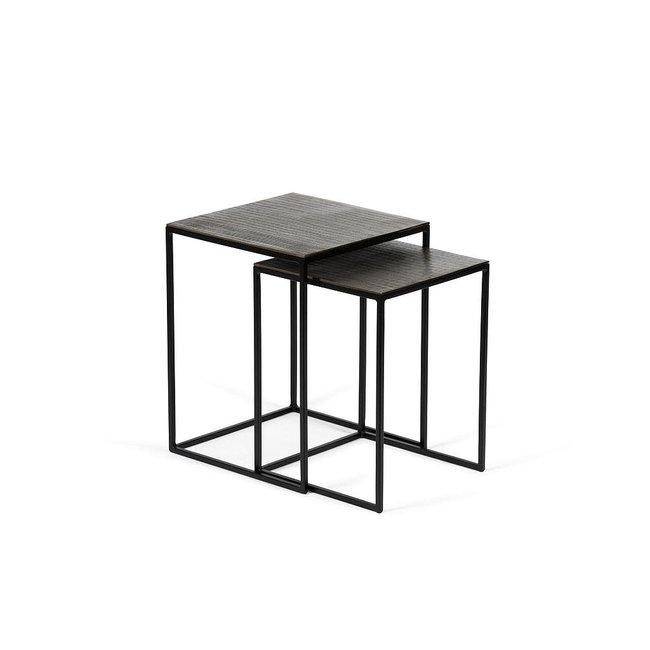 Sidetable set of 2 metal black + aluminium