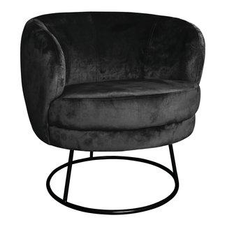 PTMD Xelena velvet zwarte fauteuil half rond