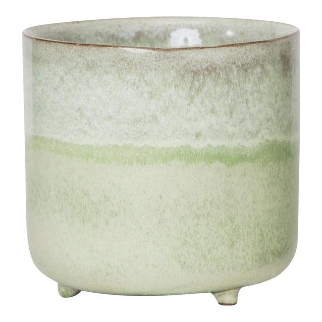 PTMD Kacie green geglazuurde pot 14x14x15
