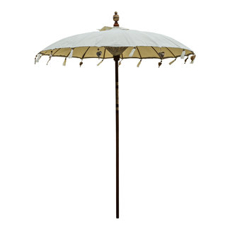 PTMD Lois cream fabric bamboo parasol round tassels