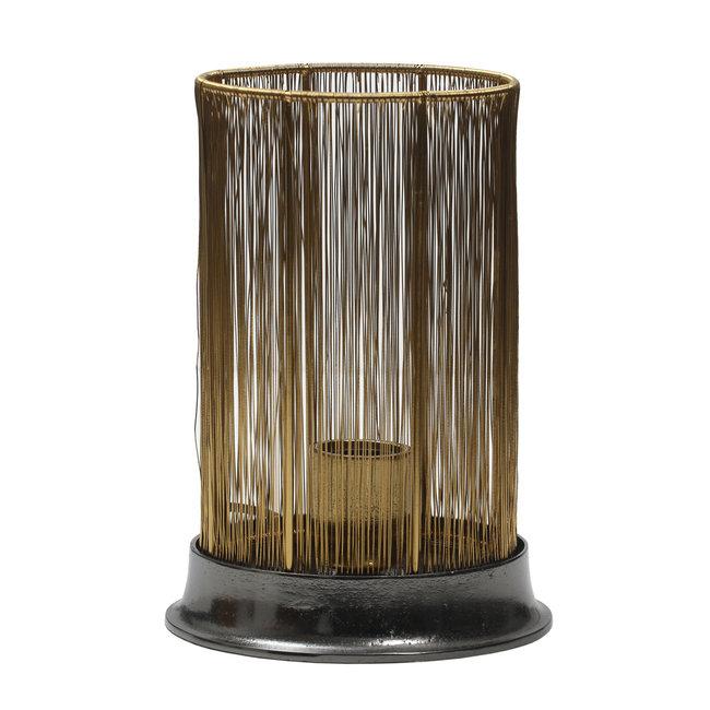 Dalary Gold iron table lamp shiny black base round