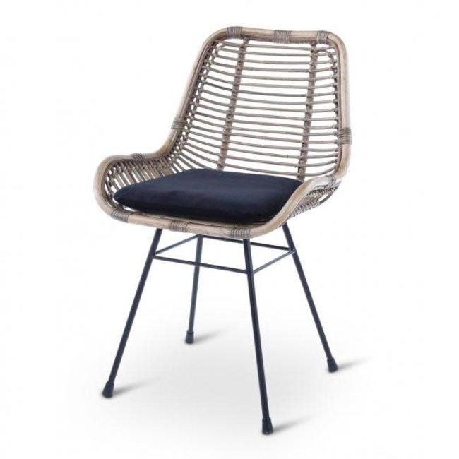 Rotan stoel river kobo grijs