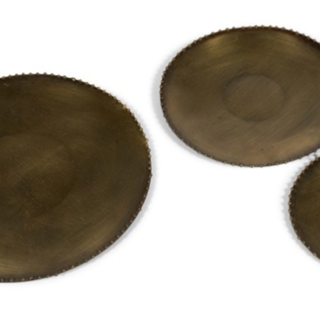 candle plate w/ dots on border metal old brass dia 13,50 cm