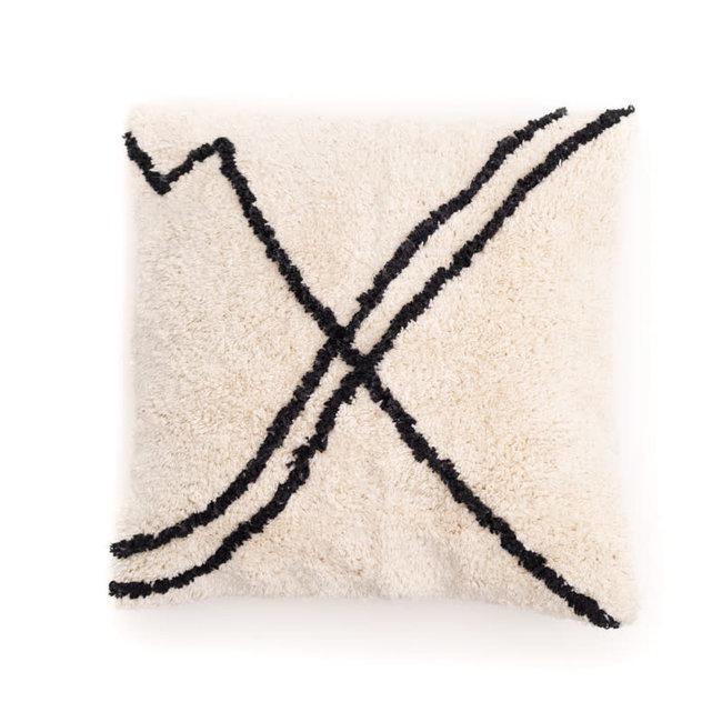 Kussensloop katoen gebroken wit met zwarte strepen