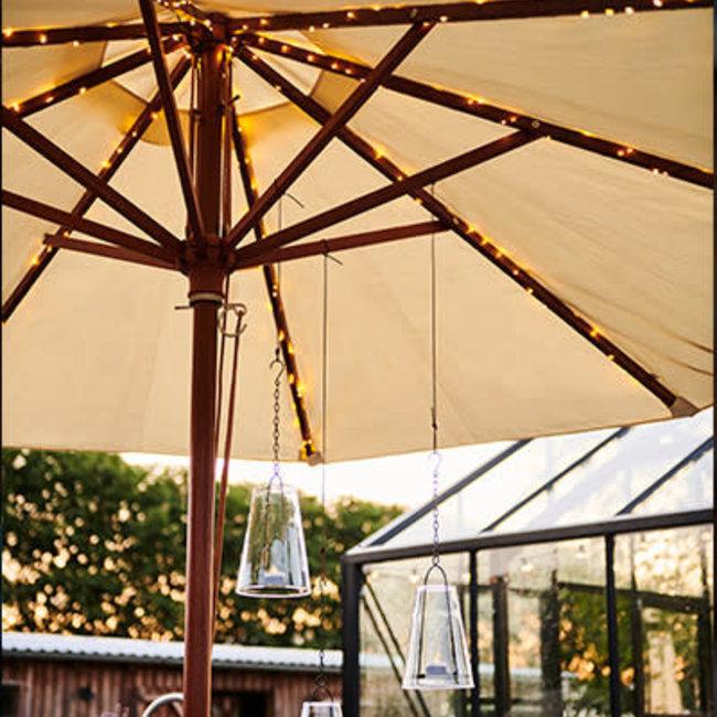 Knirke solar parasol 8x2 m + 2 m,128 lichten silver