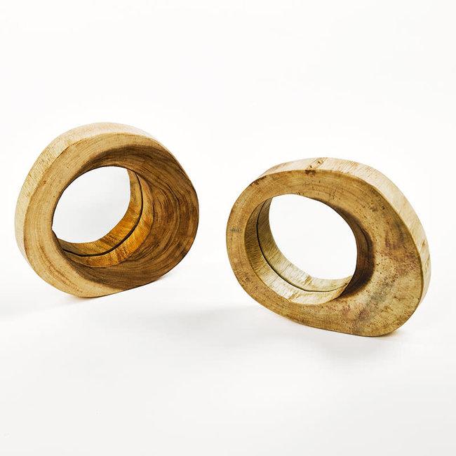 Miror sugar wood natural dia 28 H4 cm per stuk