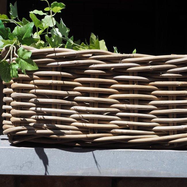 rieten bloembak langwerpig 38x16 cm